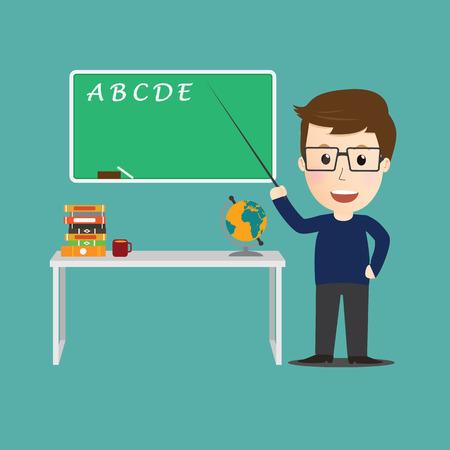 teacher and student: Vector of Character  teacher cartoon education concept. Illustration