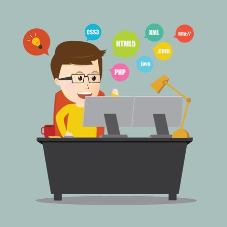 Vector of Programmer .web design on workstation desk