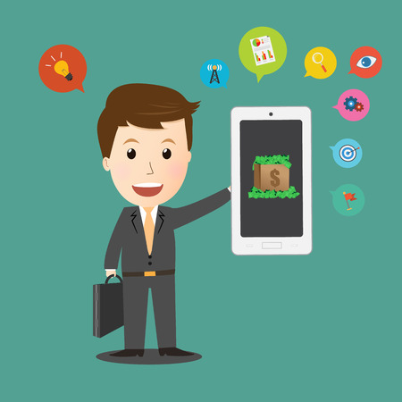 holding smart phone: Vector of Businessman holding smart phone with Business icon foe make money