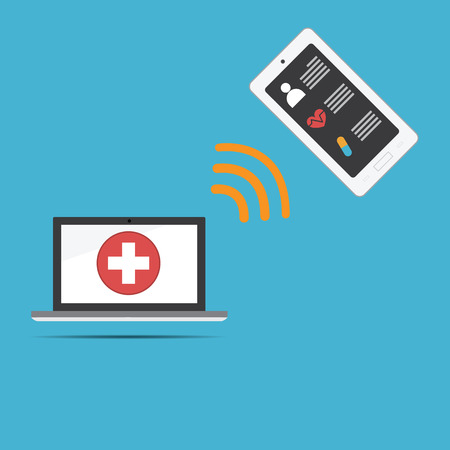 Vector of computer medical record .new technology for health care link to smartphone