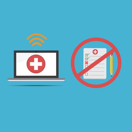 equipos medicos: Vector de la tecnología de registro médico ordenador .new para registros de salud y no utilice viejo informe de papel