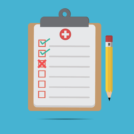Vector of flat clinical record.for icon, web design .medical records and pencil for doctor Illustration