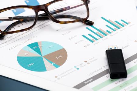 spreadsheets: Document financial .thumb drive Stock Photo