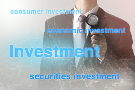 investment strategy: Double exposure of businessman with investment strategy