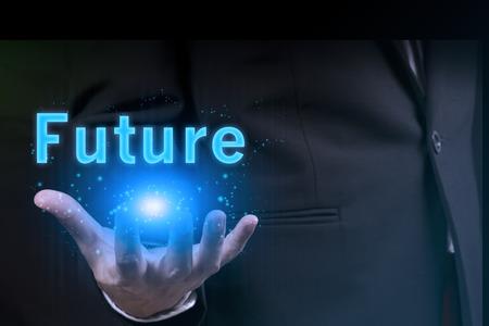 zakenman die de toekomst in zijn hand.success in business