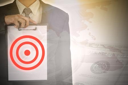 exposure: Double exposure of  businessman focus on his target in business.