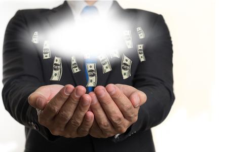 money falling: businessman make money falling from cloud.concept
