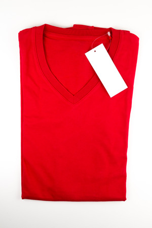 red tshirt: red t-shirt on white background Stock Photo