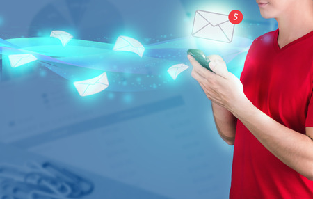 man using smart phone to get email