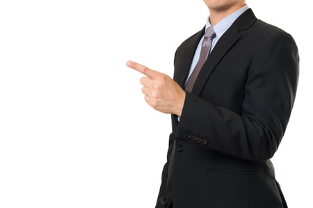 his: Businessman Point his finger on white isolated