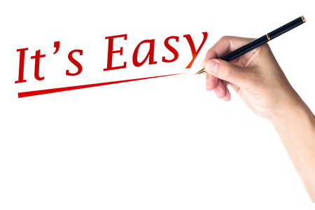 Hand writing It's Easy word Standard-Bild