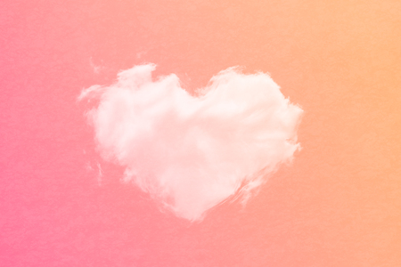 cloud shape: cloud background in heart shape with gradient colour and grunge