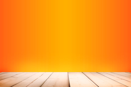 background illustration: wooden platform with orange gradient abstract background Stock Photo