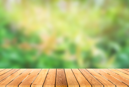 wood floor background: wooden platform with blur bokeh background
