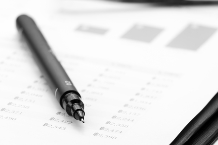 paycheck: pen and account document Stock Photo