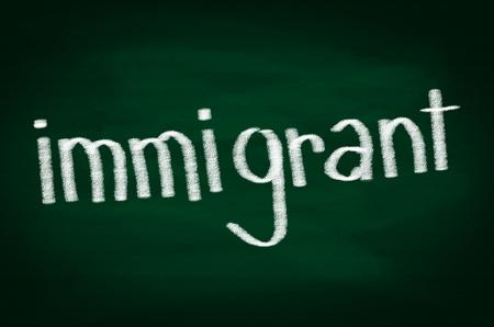 immigrant: IMMIGRANT Word on Chalkboard Stock Photo