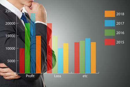 financial symbols: Businessman Thinking  with  financial symbols Stock Photo