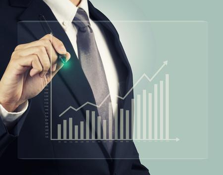 Businessman with stock investment graph take profit Archivio Fotografico