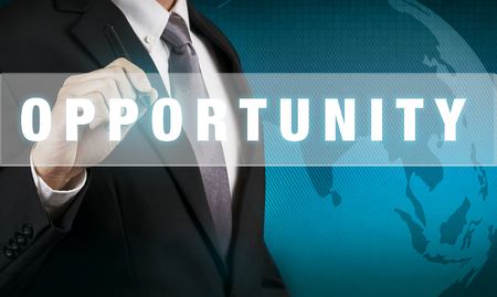 opportunity: Businessman with OPPORTUNITY WORD