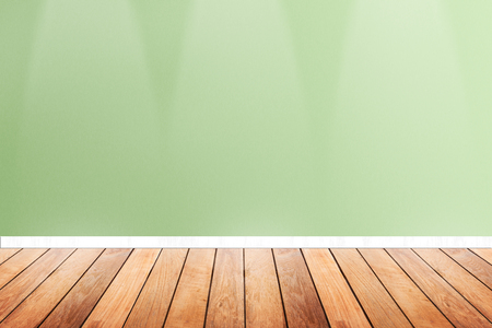Wood Floor And Green Pastel Wallpaper With Down Light Erior