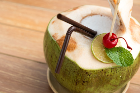 cheery: coconut juice with cheery on top