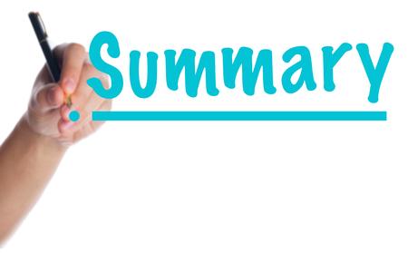 summary: Hand writing Summary Word