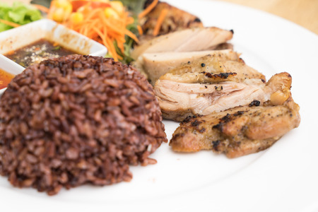 chicken grill: rice and chicken grill Stock Photo
