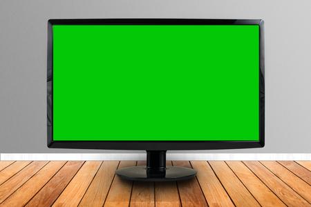 screen: computer screen on wooden floor
