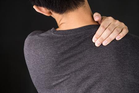 senior man on a neck pain: man feel shoulder pain