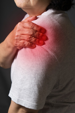 50 60 years: Old women with pain in shoulder
