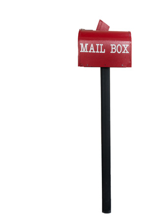 metal mailbox: Red mail box on white isolated