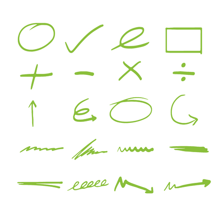 Vector of Green highlight line Doodle writing Brush line