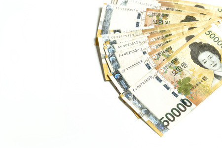won: south korea won money in white isolated
