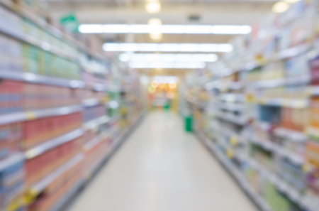 store shelf: Abstract blur Product on shelf in supermarket store for background Stock Photo