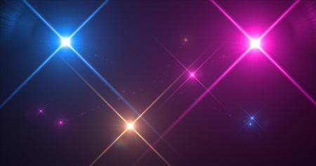 Pink ,Orange,Blue Flash Shinning glow on black background for design work Stock Photo