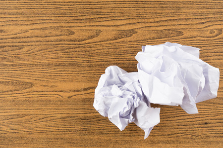 ball lump: lump paper on wooden table Stock Photo