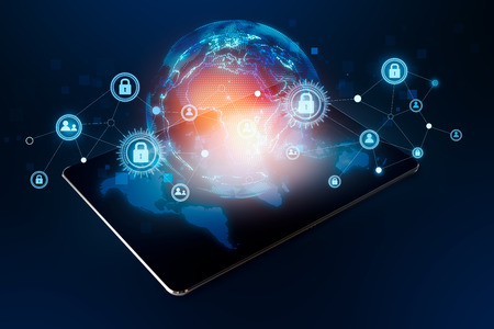 Modern tablet connection world Social Cyber Security Stock Photo