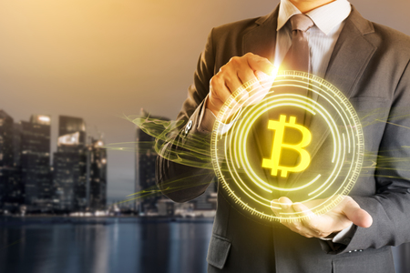 Businessman Control with Bitcoin Technology