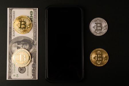 Cyptocurrency Bitcoin with money future digital currency 写真素材
