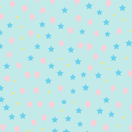 Vector of kids pattern ballon and star on pastel colour background