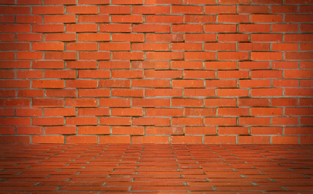 Orange brick wall with floor