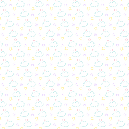 Vector of star kids pattern with clouds
