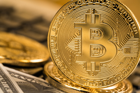 Cyptocurrency Bitcoin with money future digital currency  Banco de Imagens