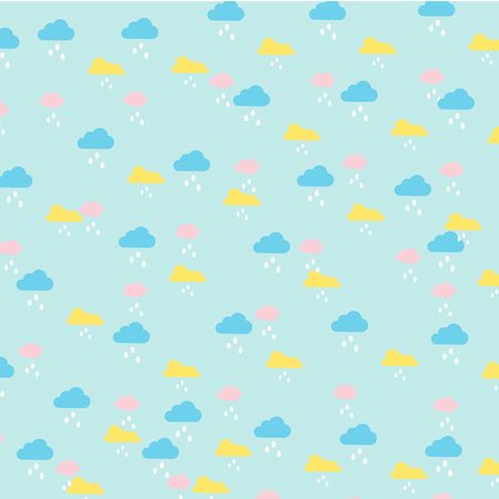 Vector of kids pattern clouds and rain in pastel color Banco de Imagens