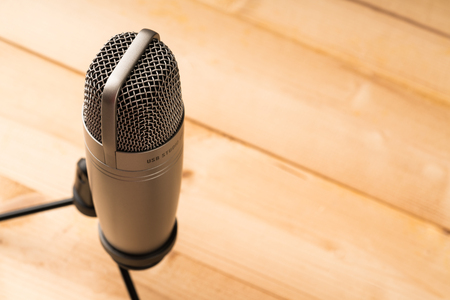 closed up Studio microphone with copy space for text Banco de Imagens