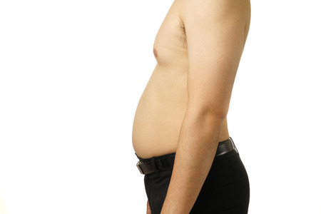 Asian Fat belly man on white isolated background Banco de Imagens