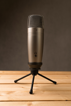Studio microphone on wooden table