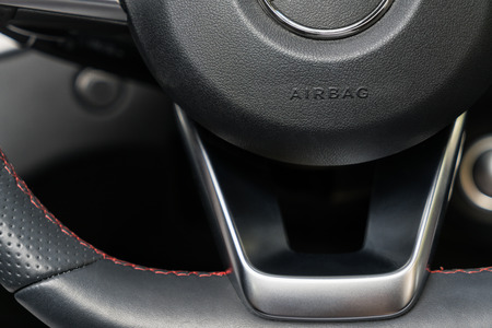 ABS Sign on Steering Wheel sport car