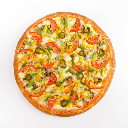 Vegetarian pizza with jalapeno pepper