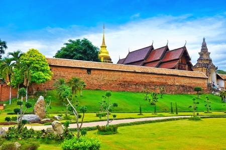 travel to thai temple , phrathat lampang luang Stock Photo